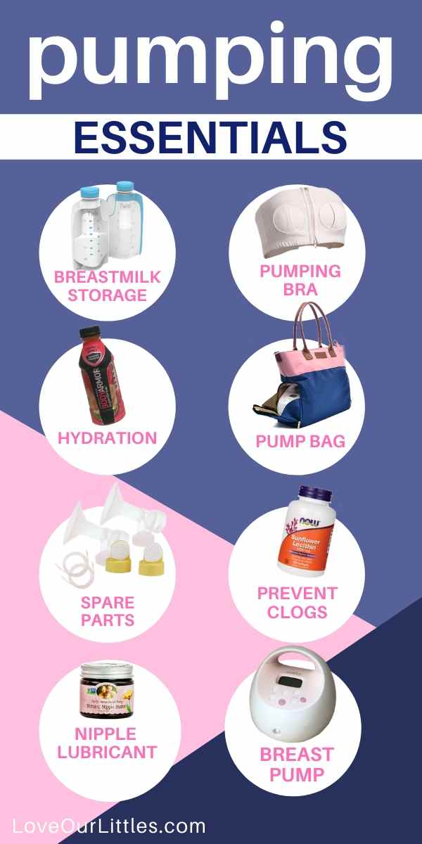 Graphic with images of essential breast pumping must-haves.