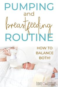 Breastfeeding and pumping schedule routine with pumping mom and baby.