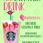 Starbucks' copy cat pink lactation drink recipe pin for pinterest