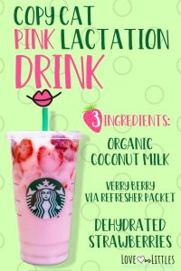 Starbucks' copy cat pink lactation drink recipe pin for pinterest