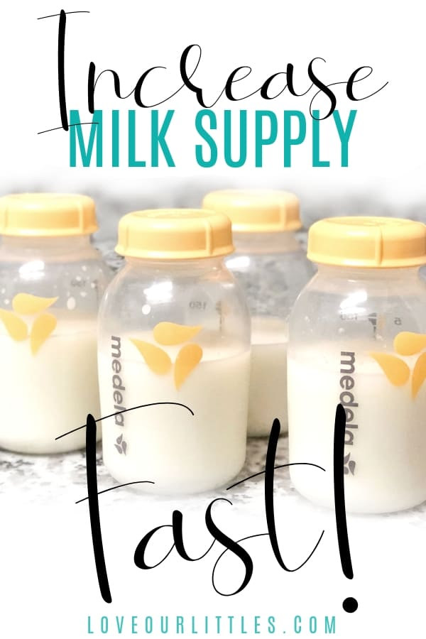 How to increase milk supply fast, pinterest image with breast milk and text overlay.