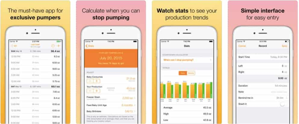 Pump log app overview to help with scheduling great pumping sessions