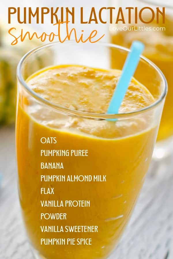 Pumpkin spice lactation smoothie recipe pin for later