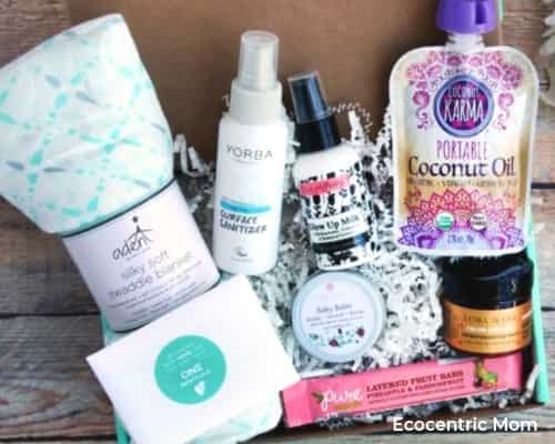 A photo of Ecocentric Mom monthly subscription box for pregnant and new moms