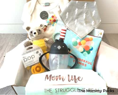 A photo of The Mommy Packs subscription box for mom and baby.