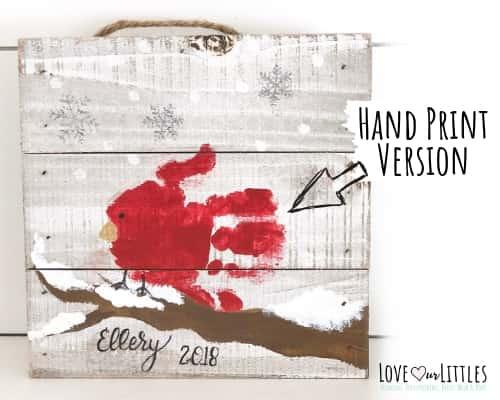 cardinal handprint baby chrismtas diy craft