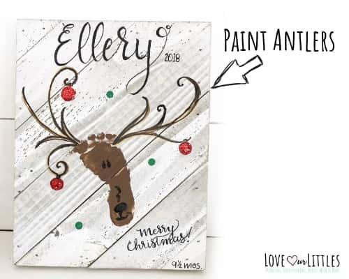 christmas reindeer baby footprint craft project