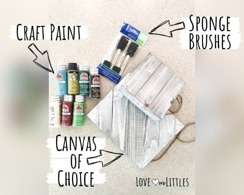 A photo of the supplies needed for this diy baby christmas craft project.