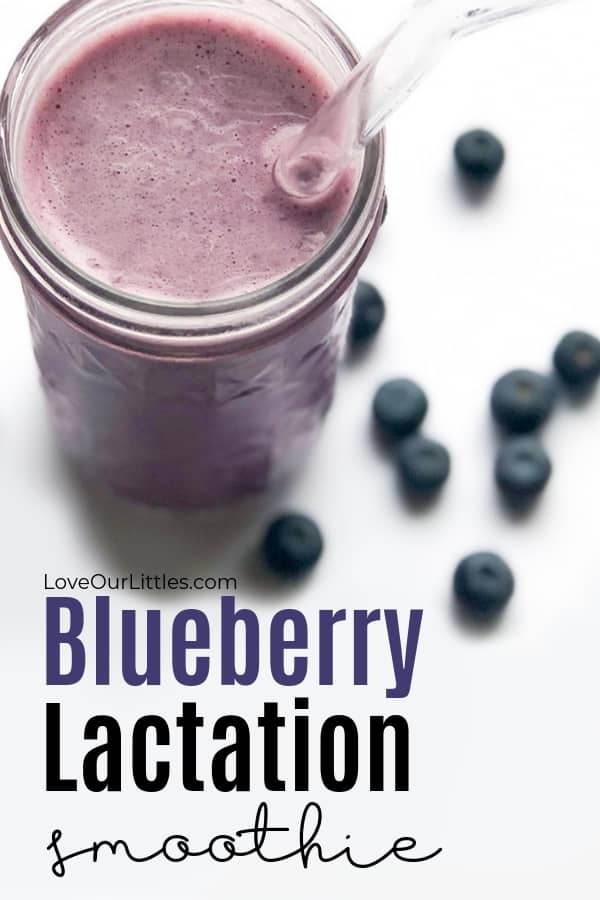 Blueberry lactation smoothie recipe text with a photo of a blueberry smoothie.