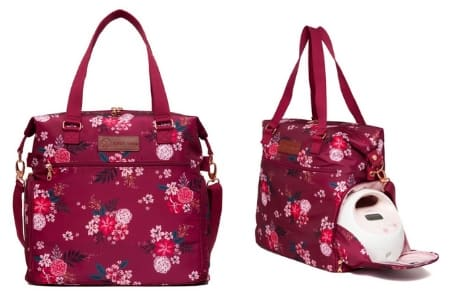 Sarah Wells Abby Breast Pump Bag with Real Leather Straps Berry