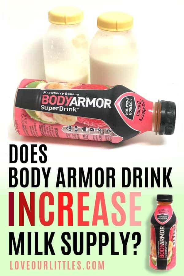 "An image of Body Armor Drink with the question, ""does Body Armor increase milk supply?"""