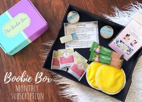 Boobie box with lactation aids to increase milk supply.