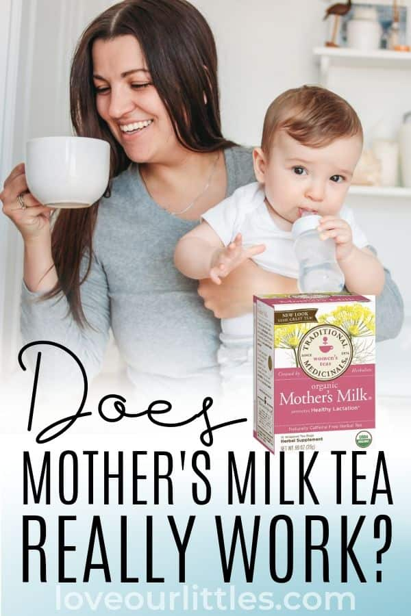 "A woman drinking tea and holding her baby with text that says, ""Does mother's milk tea work?"""