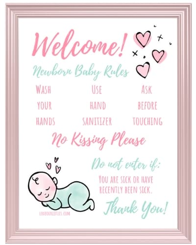 Sleeping Baby Hospital Door Sign