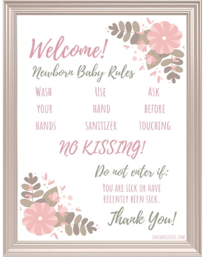 Pink hospital door sign with faux frame