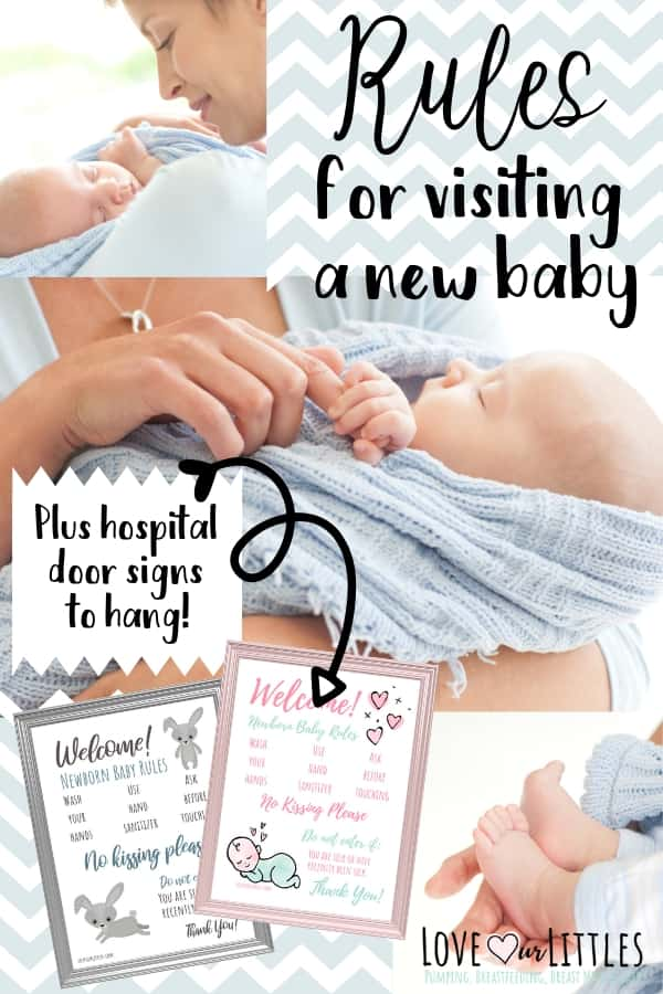 rules for visiting a new baby with an image of grandma holding a newborn and free hospital door signs with rules.