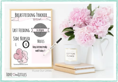 Image of free breastfeeding tracker printable in a frame with time nursed filled in.