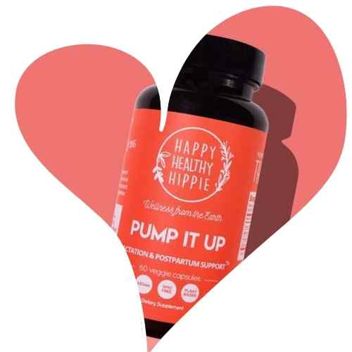 Pump it up lactation supplement in the shape of a heart.