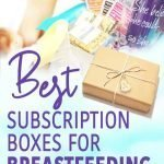 A photo of a breastfeeding subscription box and a mom breastfeeding in the background