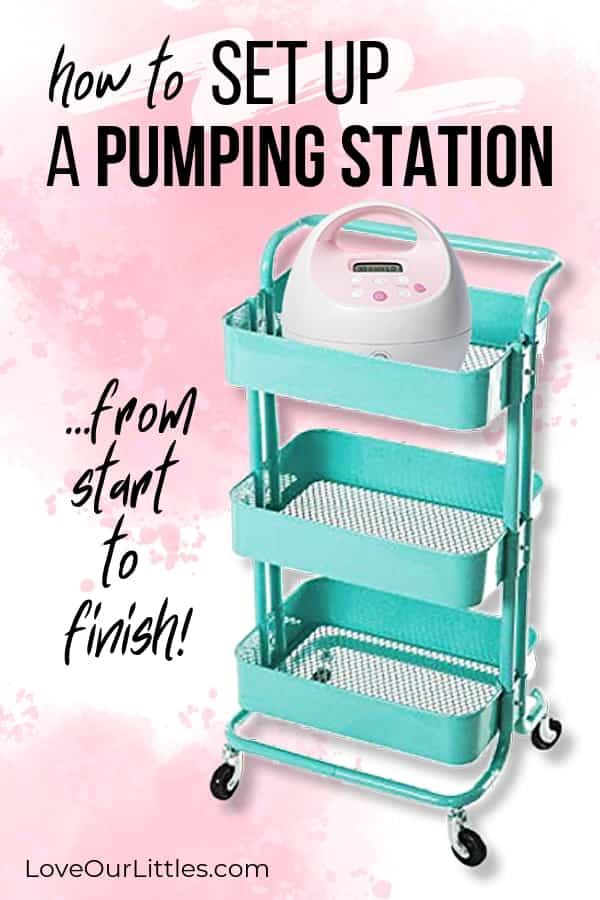 Breast pumping roll cart with a breast pump inside.