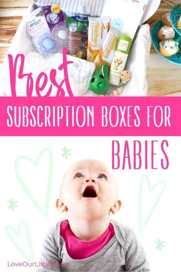 Baby looking up at a subscription box full of baby stuff.