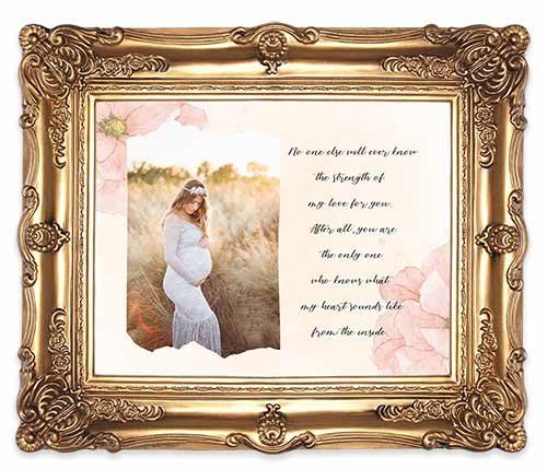 Maternity portrait mockup with gold frame.