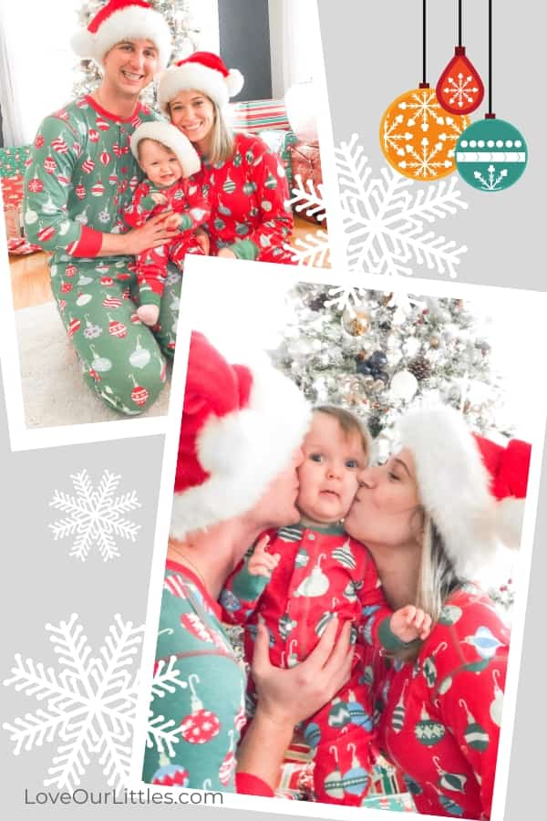 family christmas photos in matching christmas outfits.