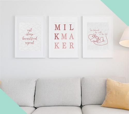 breastfeeding print art mockup