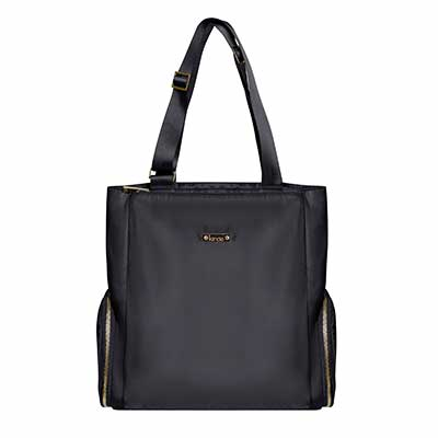 Black tote breast pump bag.