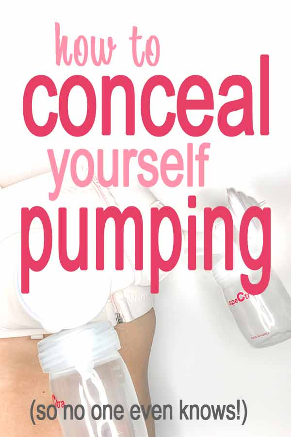 "Pumping kit with pumping bra on woman with text overlay ""how to conceal yourself pumping"""