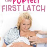 New mom being helped with breastfeeding and the first latch of her baby after birth.
