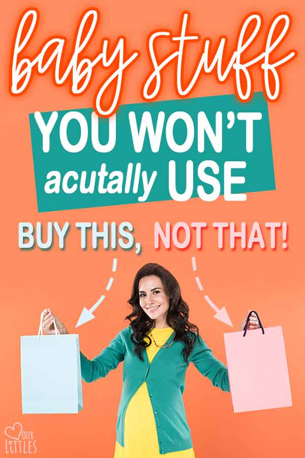 Pregnant woman holding shopping bags of baby stuff that says buy this not that.