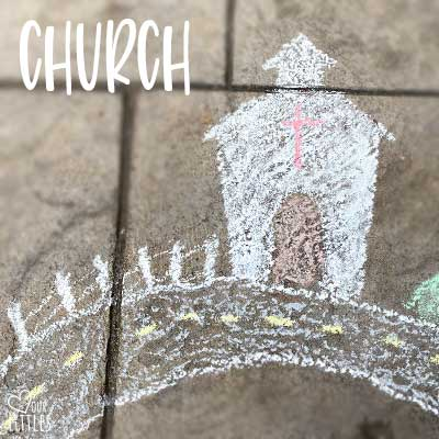 How to draw a chalk art church for toddler roadway town.