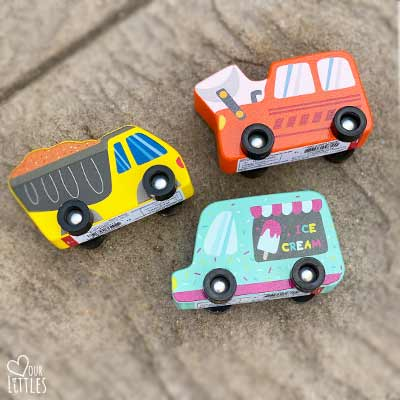 toy cars for chalk art town and roadway project