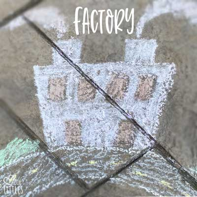 Chalk art factory for toddler chalk roadway and town play.