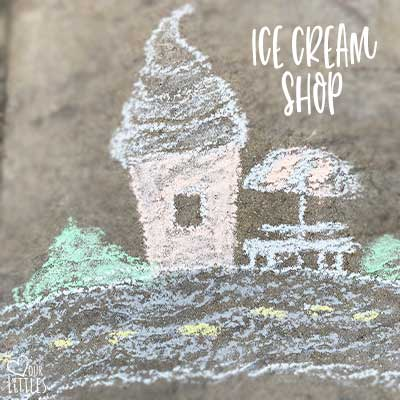 Ice cream shop chalk art in chalk town and roadway toddler play activity idea.