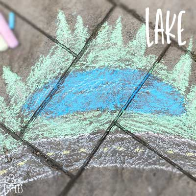 Chalk art lake in toddler chalk town activity play.