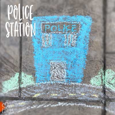 Police station chalk art idea for roadway and town.
