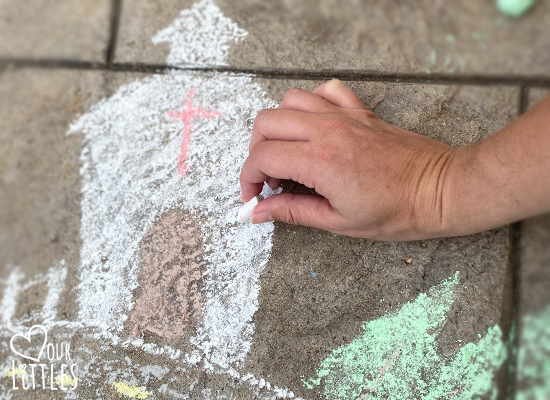 How to draw a chalk art town and roadway