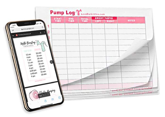 A mock up of pumping schedules on an iPhone and a printed stack of pump logs.