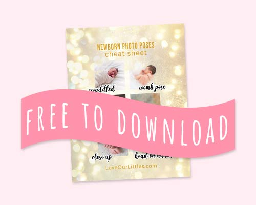 "newborn photo poses cheat sheet that says ""free to download"""