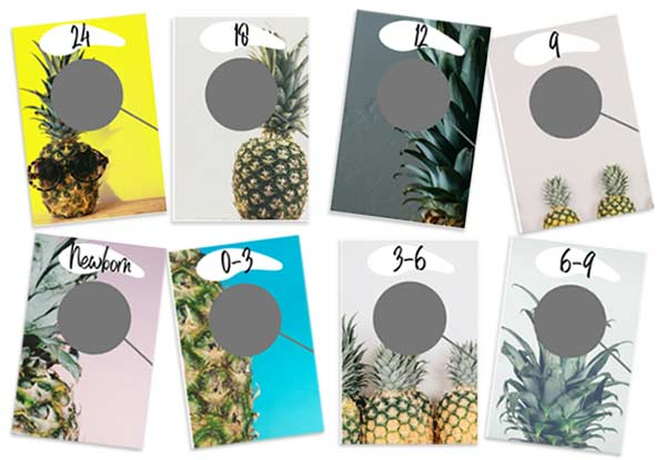 Mockups of 8 closet organizers for baby's clothes, newborn to 24 months with pineapples on them.