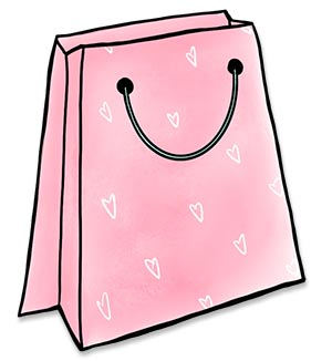 Pink shopping bag illustration with white hearts for a pattern.