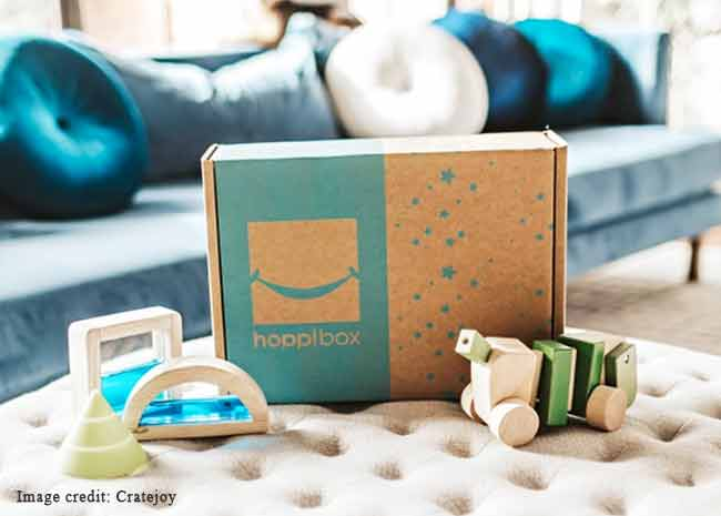 Picture of the Hoppi Box Montessori play things subscription box for babies and toddlers.