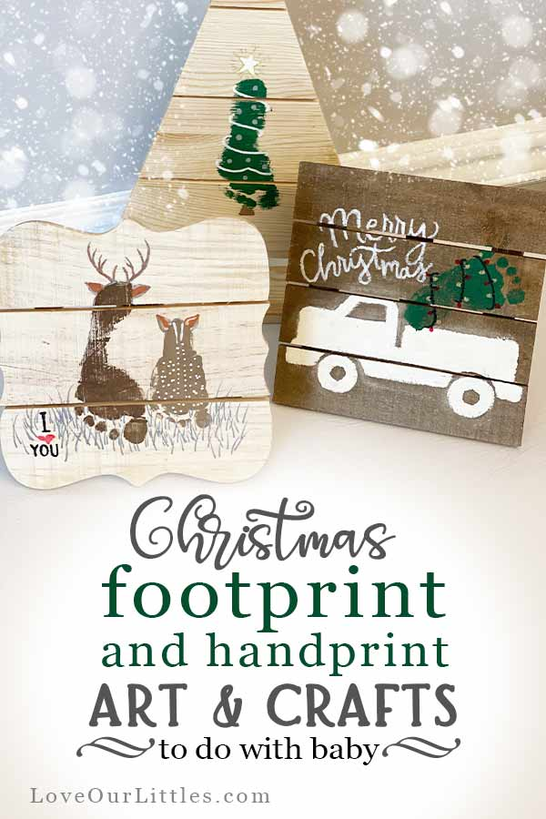 Pinterest pin for Christmas footprint and handprint baby art and crafts.