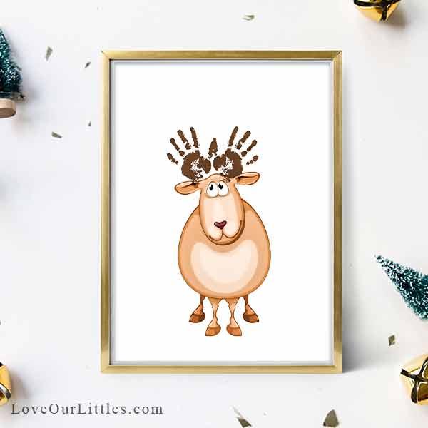 Reindeer handprint antler Christmas craft.
