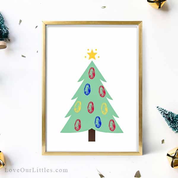 Christmas tree printable with thumbprint ornaments.