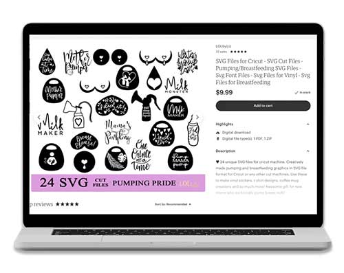 laptop screen with Etsy shop pumping mom stickers and breast pump decals.