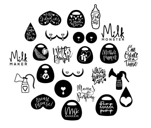 assortment of breast pump decals and stickers for cricut machine svg cut files.