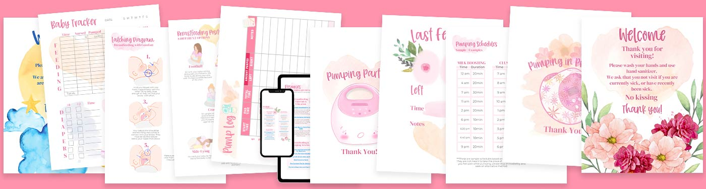 Mockup of printables on a pink background.